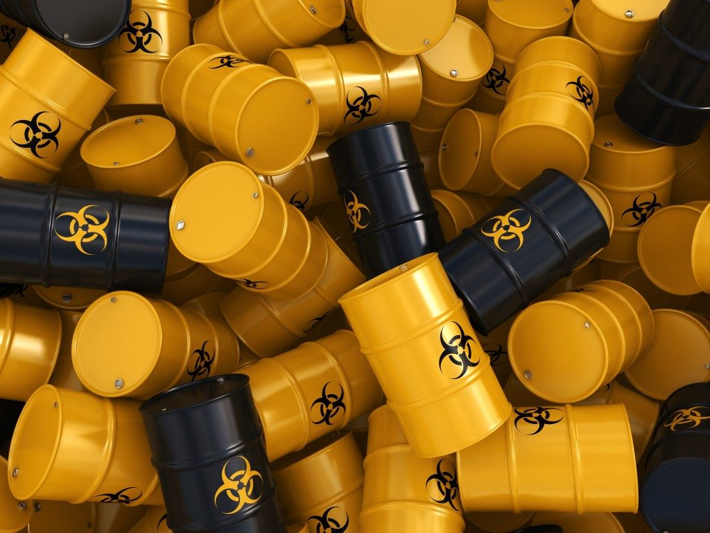 Yellow barrels hazard waste