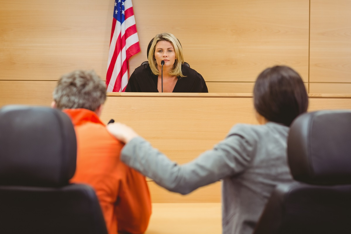 during a court session