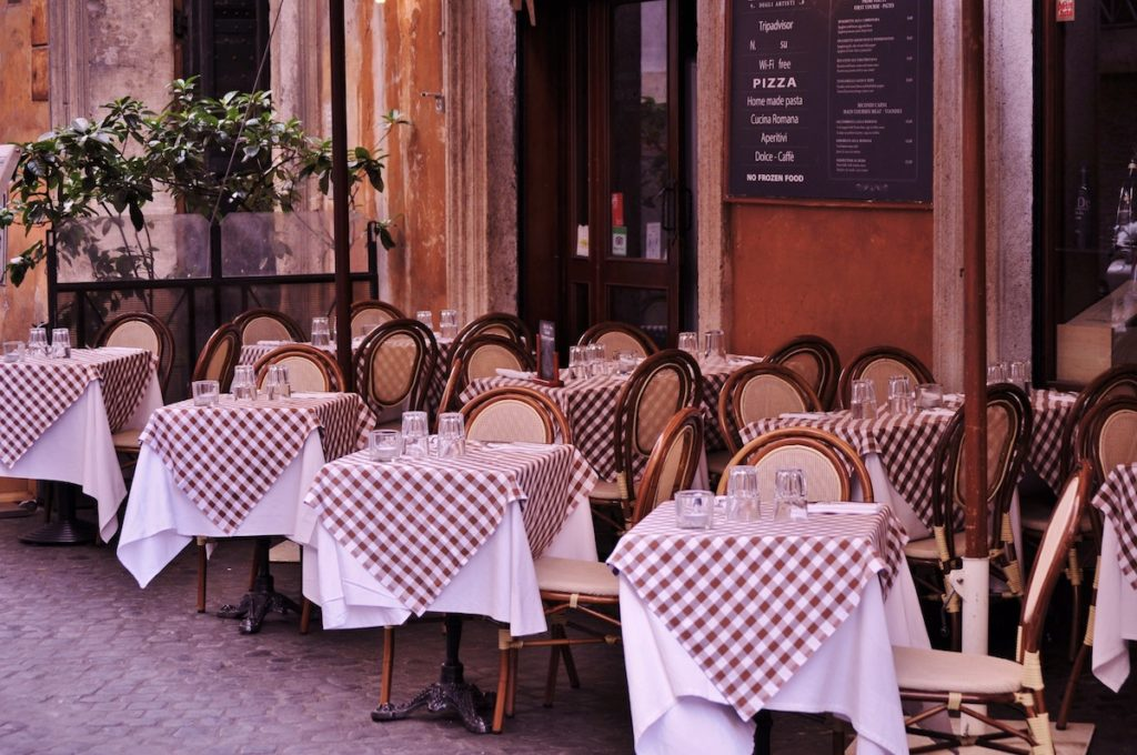 tables outside the restaurant
